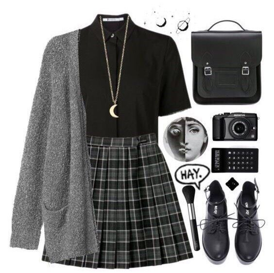 Photo of Love the skirt, sweater, and necklace. Shirt is okay, but would not have a collar …