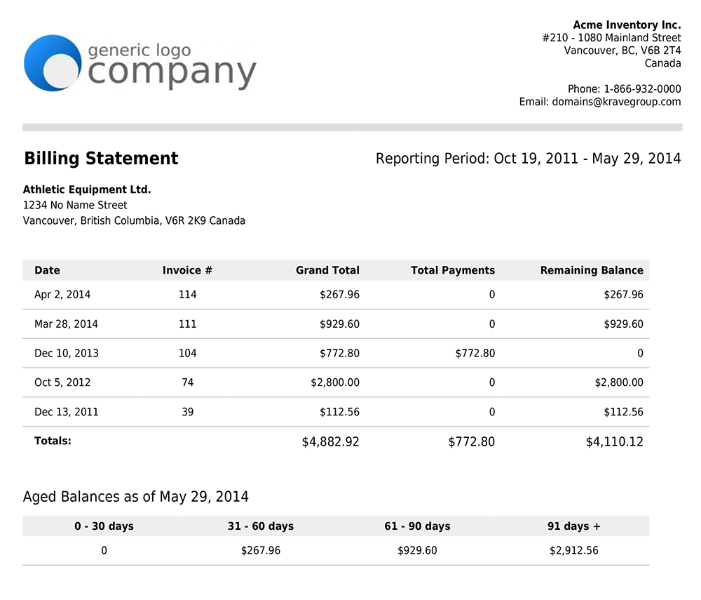 sample of invoice statement