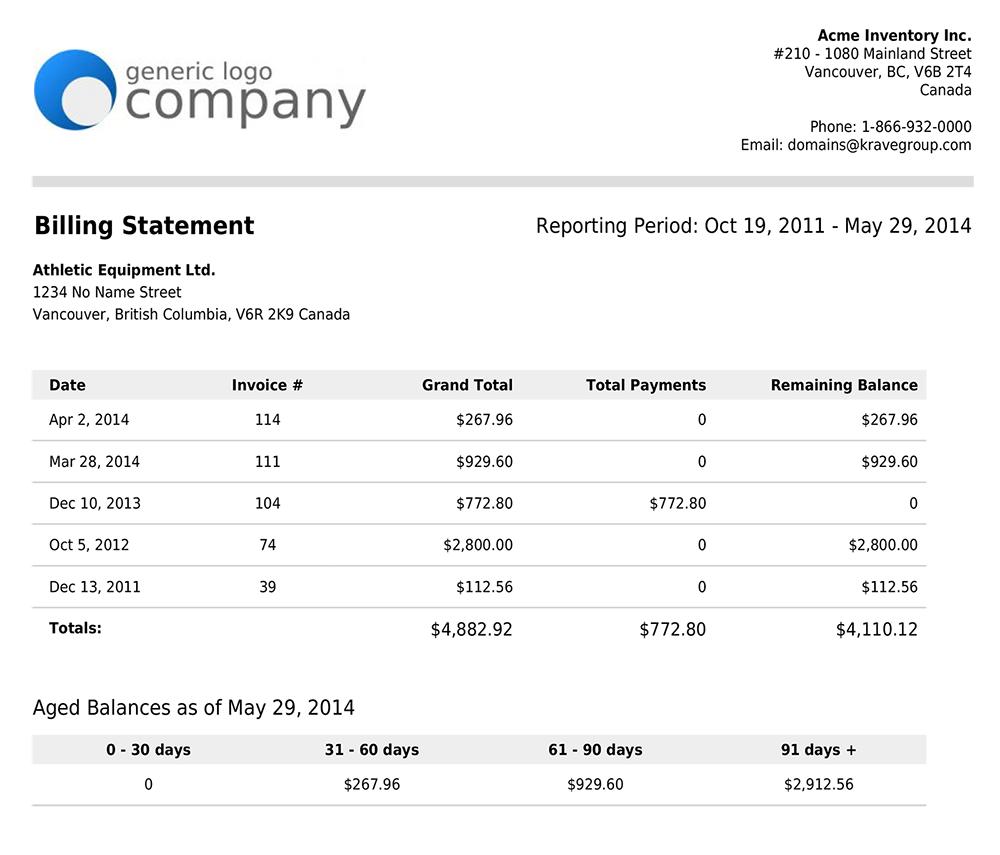 sample billing statement google search business form samples