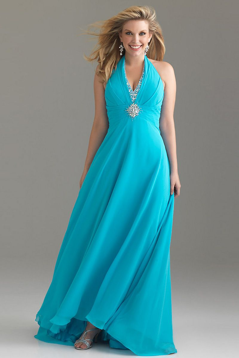 Ruched vneck halter chiffon blue aline plus size dress sale online