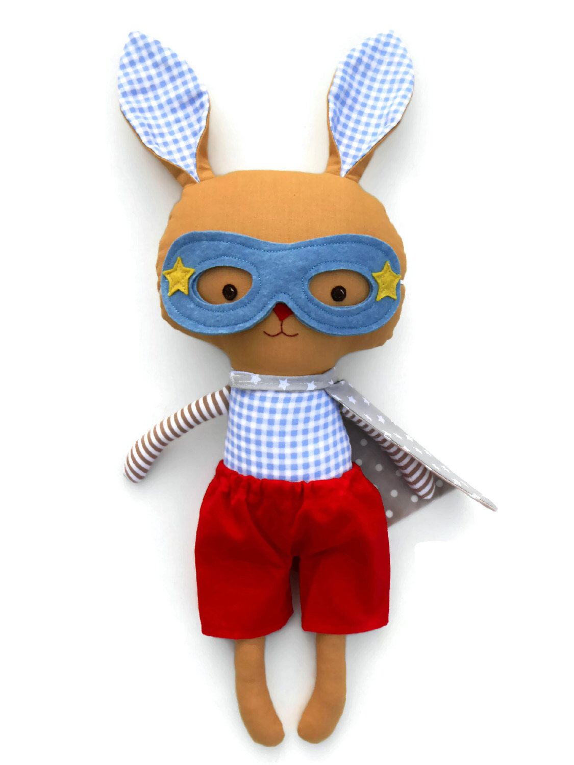Plush easter bunny superhero stuffed rabbit for toddler gift for plush easter bunny superhero stuffed rabbit for toddler gift for kids handmade doll for easter gift negle Image collections