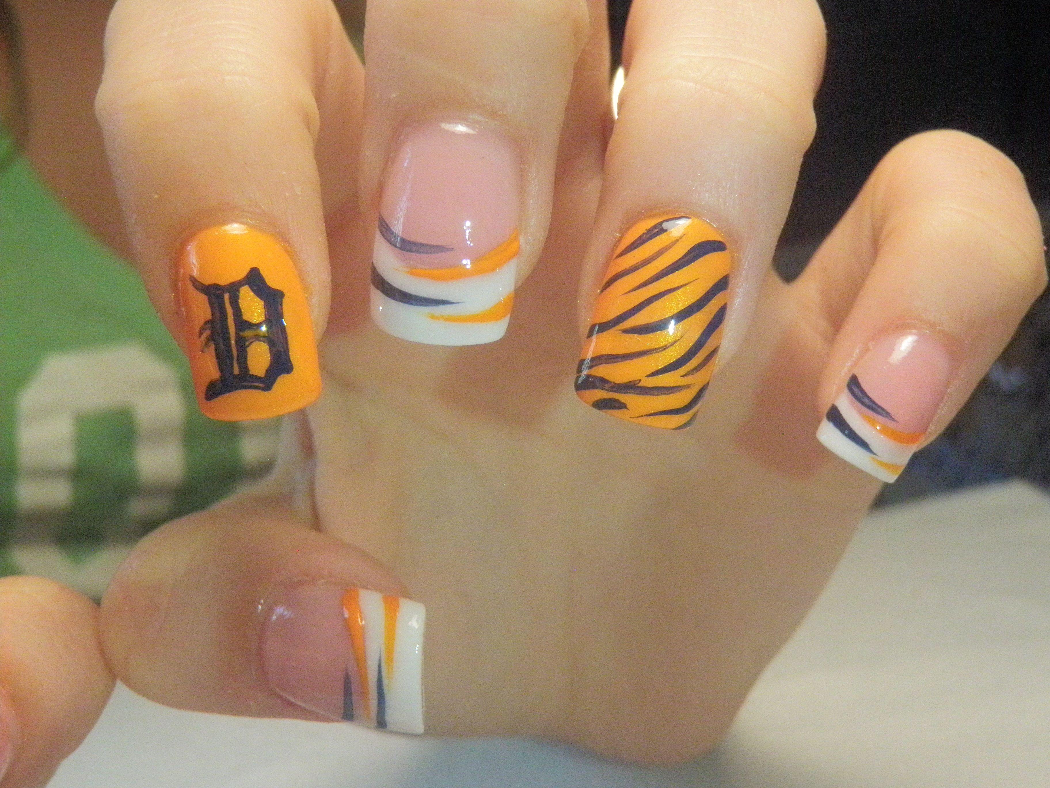 Detroit Tigers nails | Fun Hair and Make up !! | Pinterest | Tiger ...