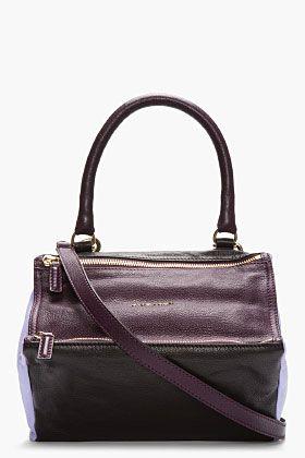 GIVENCHY Purple Colorblock Leather Pandora Shoulder Bag