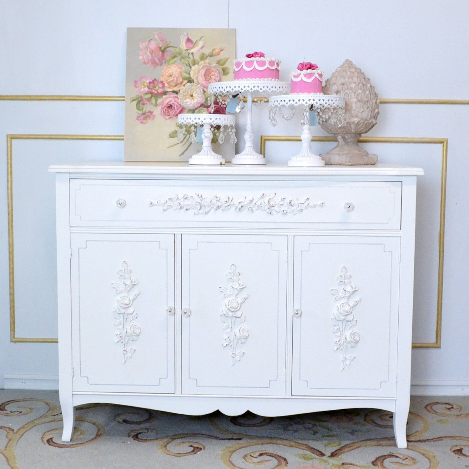 50 Cool And Creative Shabby Chic Dining Rooms: Rose White Mahogany Buffet $895.00 #OOAK #shabbychic