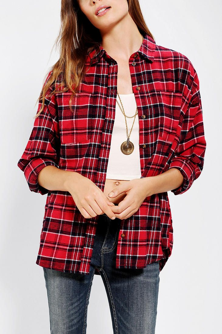 Red flannel shirts  BDG DoublePocket Flannel Shirt  style  Pinterest  Clothing