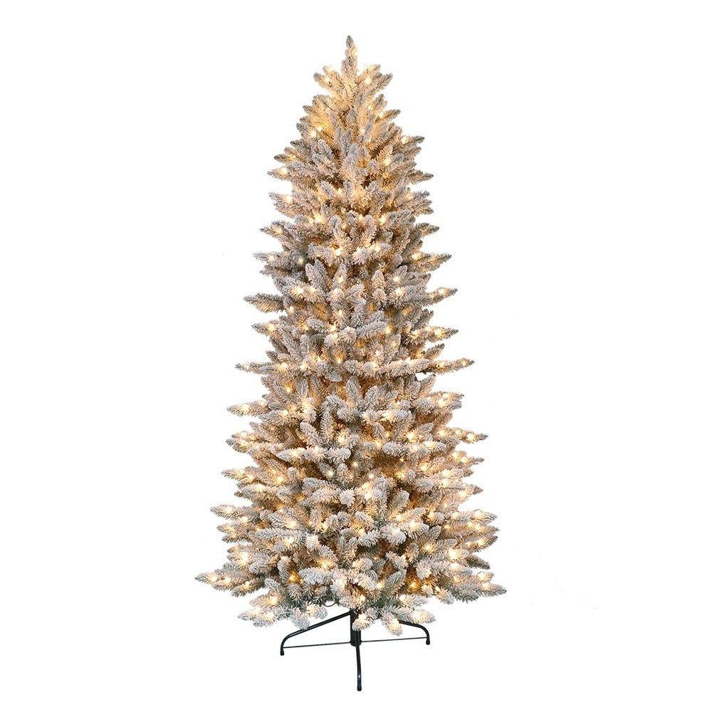 Best Deal On Artificial Christmas Trees: Puleo International 7.5 ' Pre-Lit Flocked Slim Fraser Fir