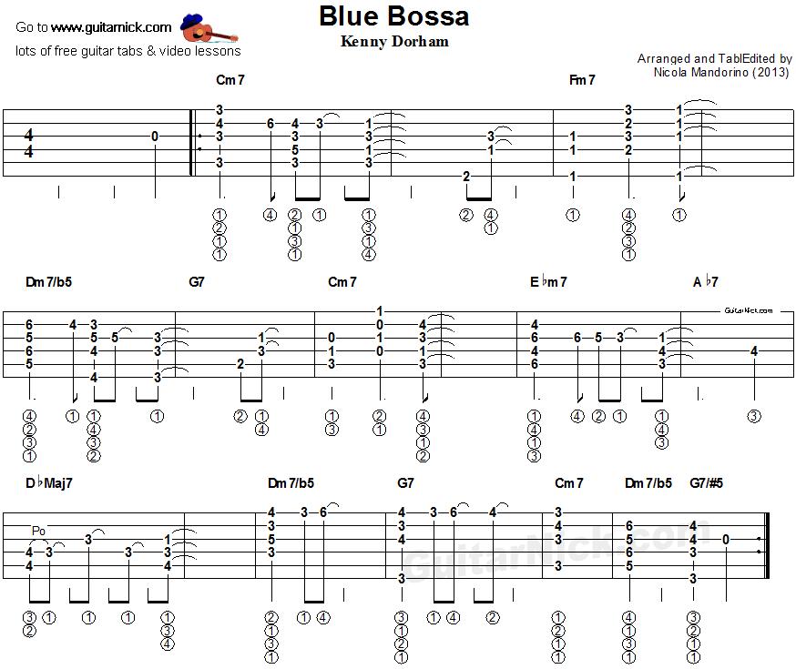Blue Bossa - fingerstyle guitar tablature | evergreens basic tabs ...