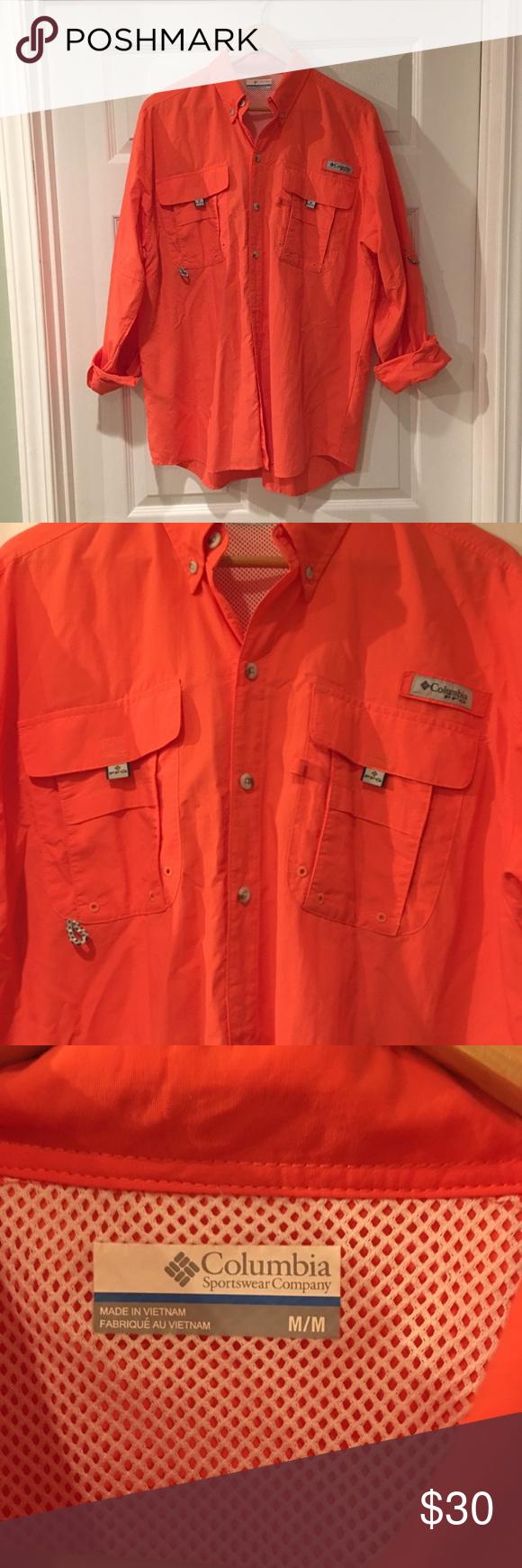 Columbia Pfg Fishing Shirt Size M Omni Shade For Maximum Sun