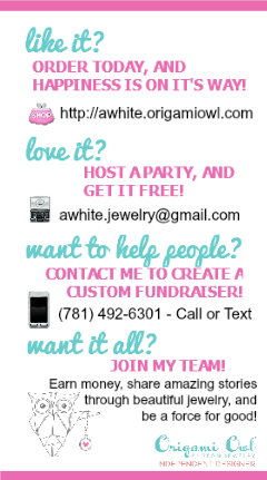 Origami Owl business card sized ad for an event swag bag.  Other side will have a coupon for a charm with locket purchase.  - http://awhite.origamiowl.com/