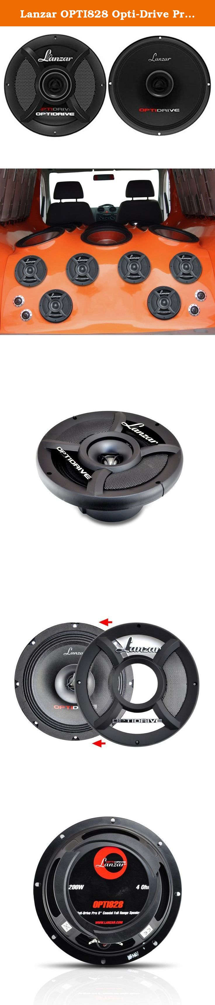 """OPTI828 Powerful 1200 Watts 8 Ohms Paper Cone w// 70Hz Lanzar Upgraded Opti-Drive Pro 8/"""" Coaxial Car Speaker 22 KHz Frequency Response and 55 Oz Magnet Structure Full Range Subwoofer"""