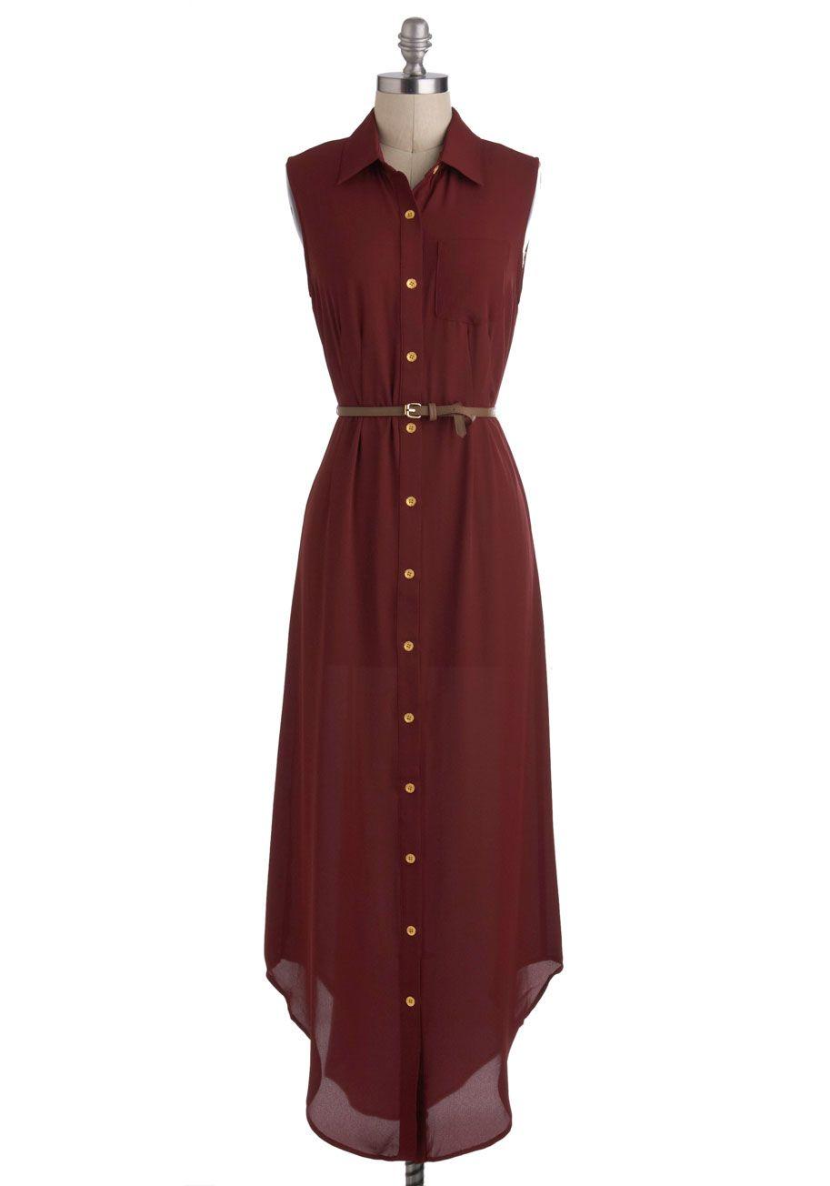 Long and wineding road dress long red gold buttons belted