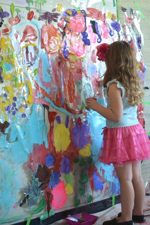 Painting On Plastic Spring Mural For 3 5 Year Olds Preschool Art Art Classroom Art For Kids