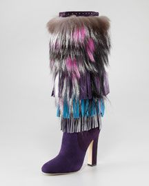 Jimmy Choo Dalia Fringed Suede and Fur Boot