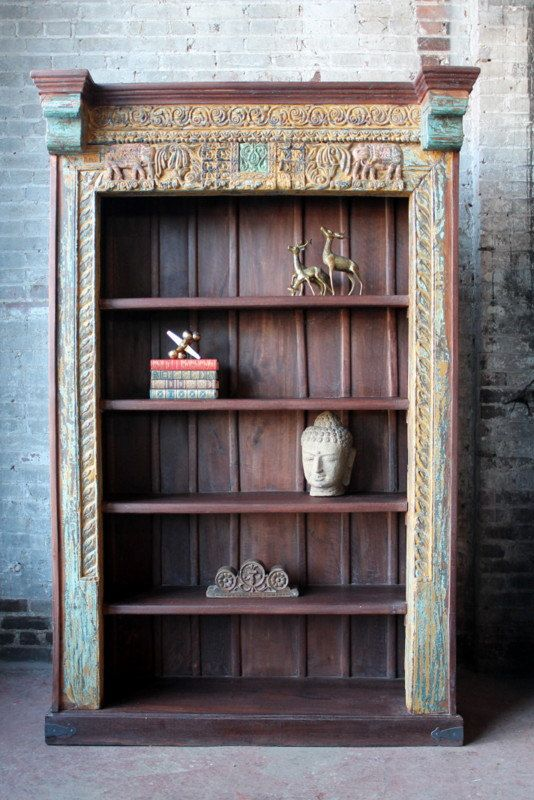 Large Bookcase Reclaimed Indian Door Frame Elephant Detail Moroccan Decor Turkish Interior Import Furniture Indian Doors Steampunk Furniture Indonesian Decor