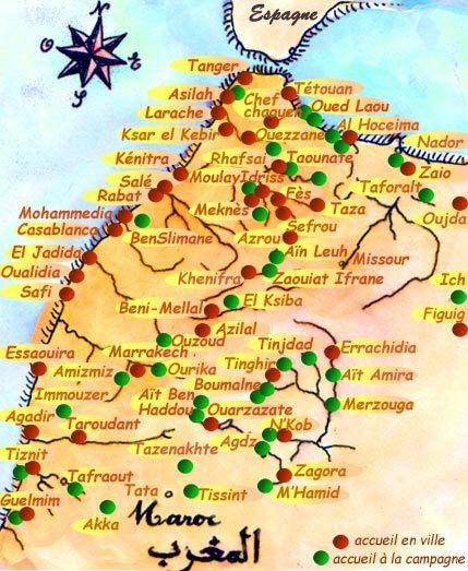 Carte Du Maroc Avec Les Lieux Daccueil Et Sites A Visiter Casablanca