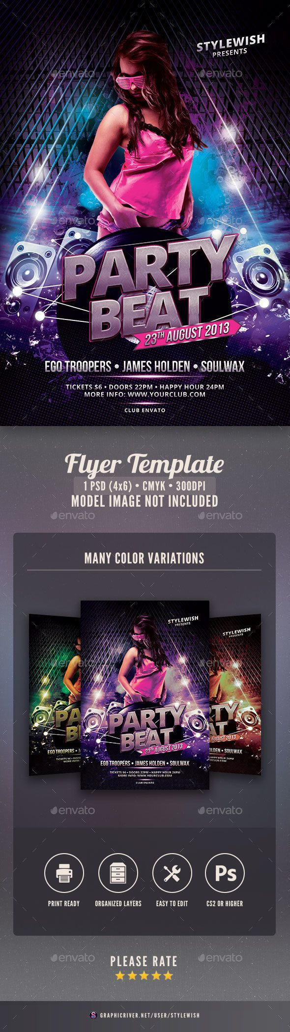 Party Beat Flyer | Flyer template, Template and Party flyer