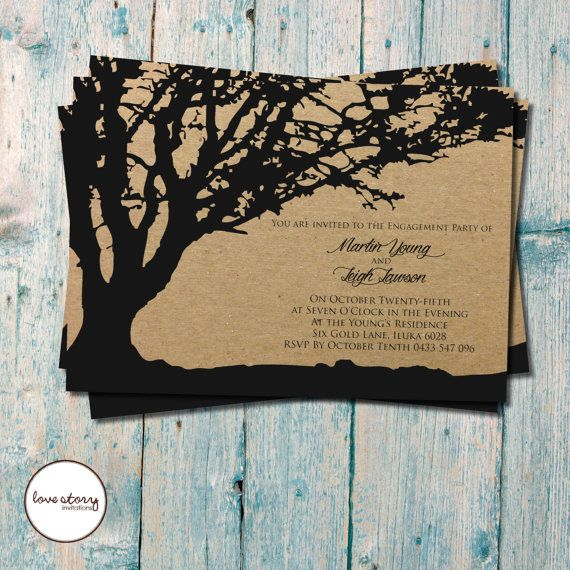 Silhouette Tree Invitations \/ Engagement Invitation \/ Wedding - free engagement invitations