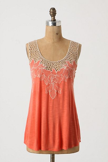 A bright coral tanktop to spice up your vacation wardrobe (via @anthropologie www.anthropologie.com)