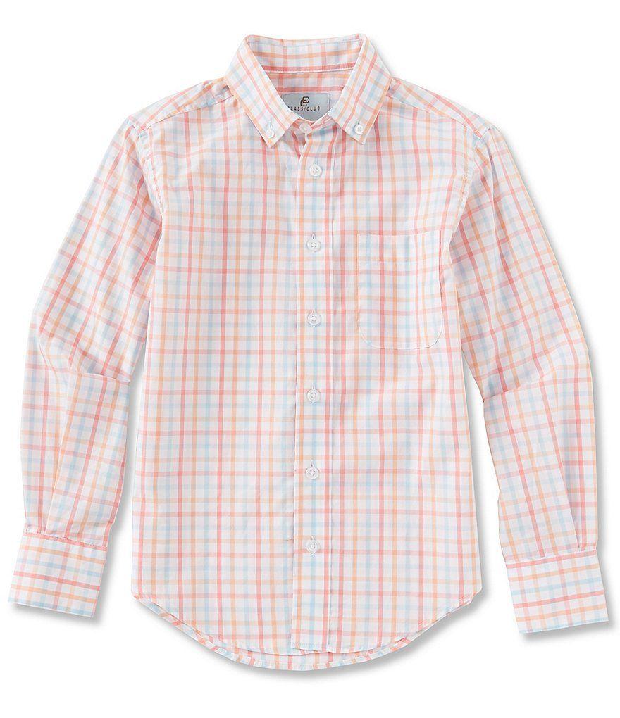4f6ca6b324aa Class Club Big Boys 8-20 Long-Sleeve Grid Pattern Button-Front Sportshirt |  Dillard's