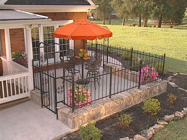 How To Install A Fence Around A Courtyard Patio Fence Iron