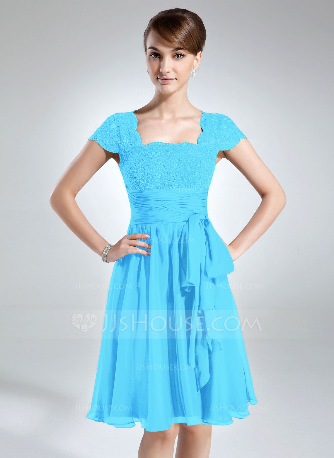 A-Line/Princess Square Neckline Knee-Length Chiffon Lace Mother of the Bride Dress With Ruffle Bow(s) (008006166) - JJsHouse