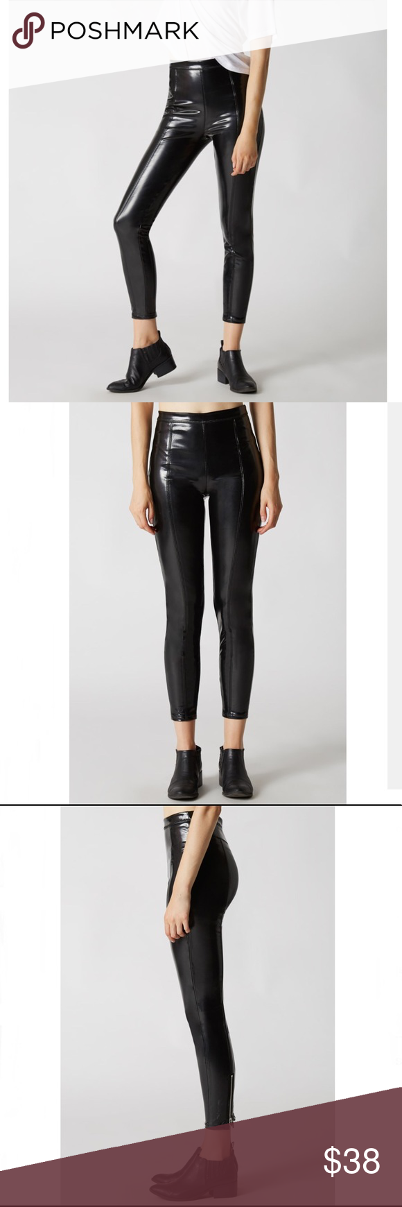 f4e96ab9811e28 NWT BlankNYC Pull on leggings SMOKE AND MIRRORS PANTS Shiny patent pull-ons  with circle zippers at back calf. [90% polyester 10% spandex ] Blank NYC  Pants ...