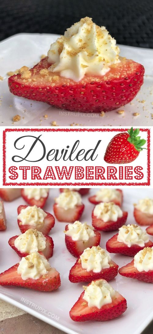Deviled Strawberries (Made with a Cheesecake Filling) #fingerfoods