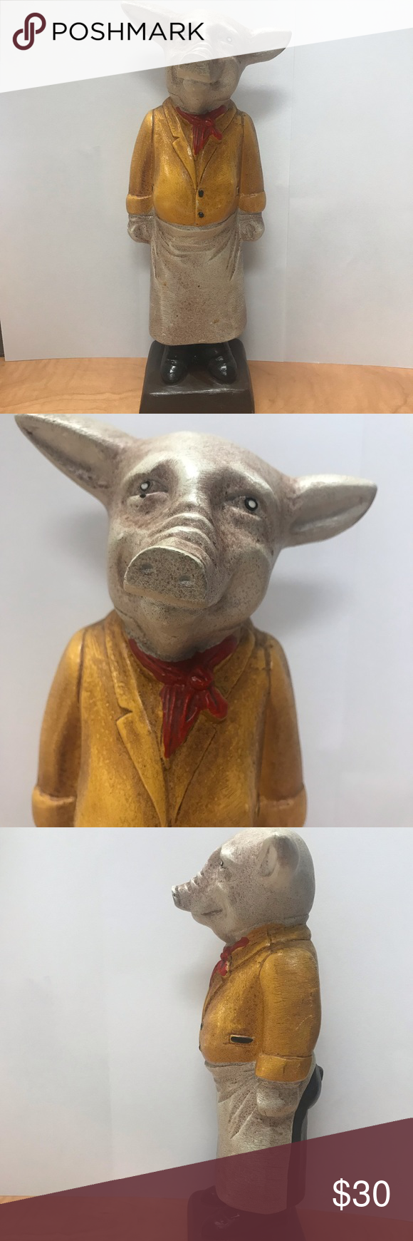 """10"""" PIG IN APRON Knick Knack/Collectible Hey all you animal lovers, check out this cute little guy. 10 inches high, 2 lbs in weight.  Adorable for home or restaurant decor. Make me an offer... Accents Decor #knickknack"""