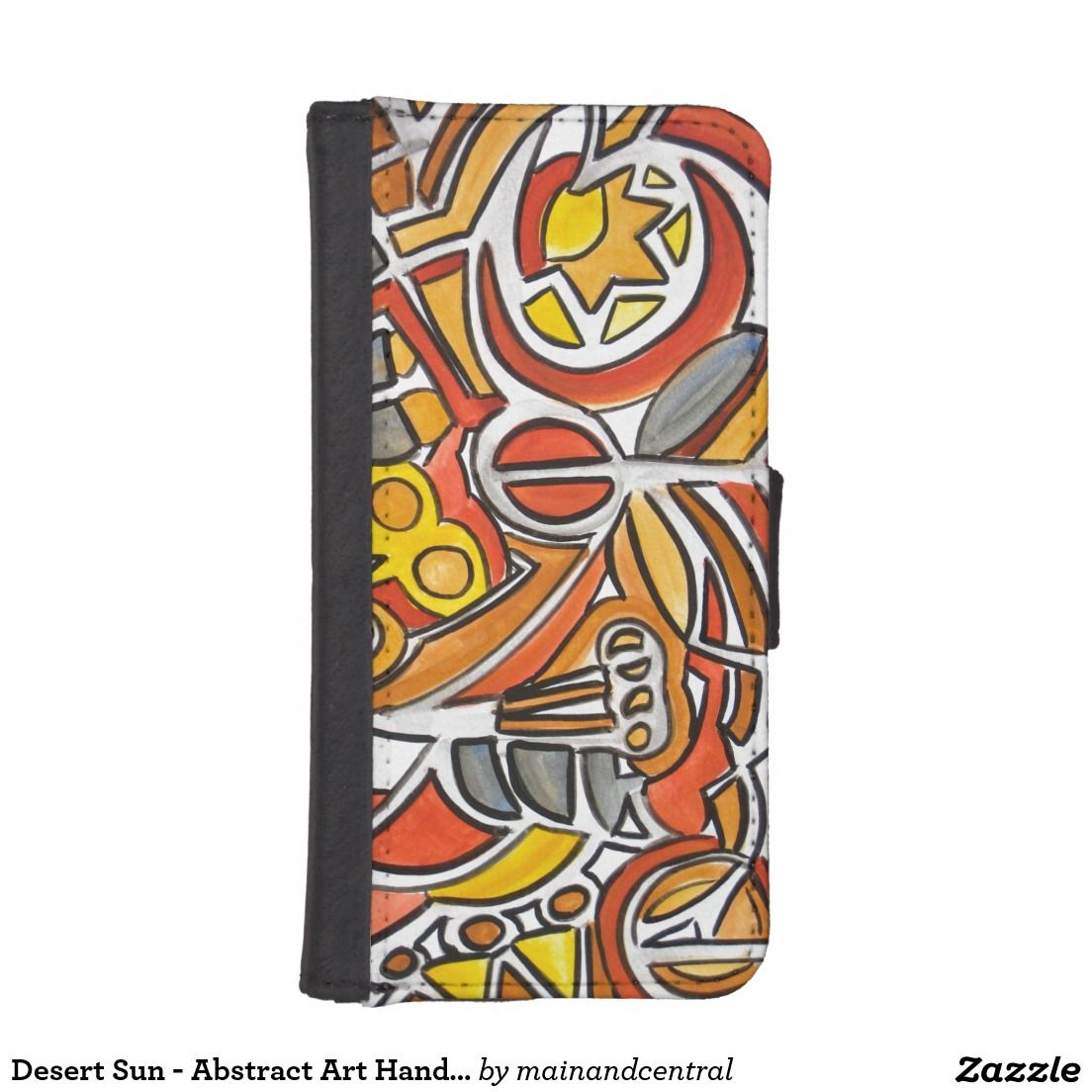 Desert Sun - Phone Wallet Case with Abstract Art Hand Painted Geometric Pattern in Bold Earth Colors