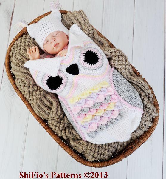 Baby Crochet Pattern Cocoon, Papoose, Hat Owl Crochet Pattern 3 ...