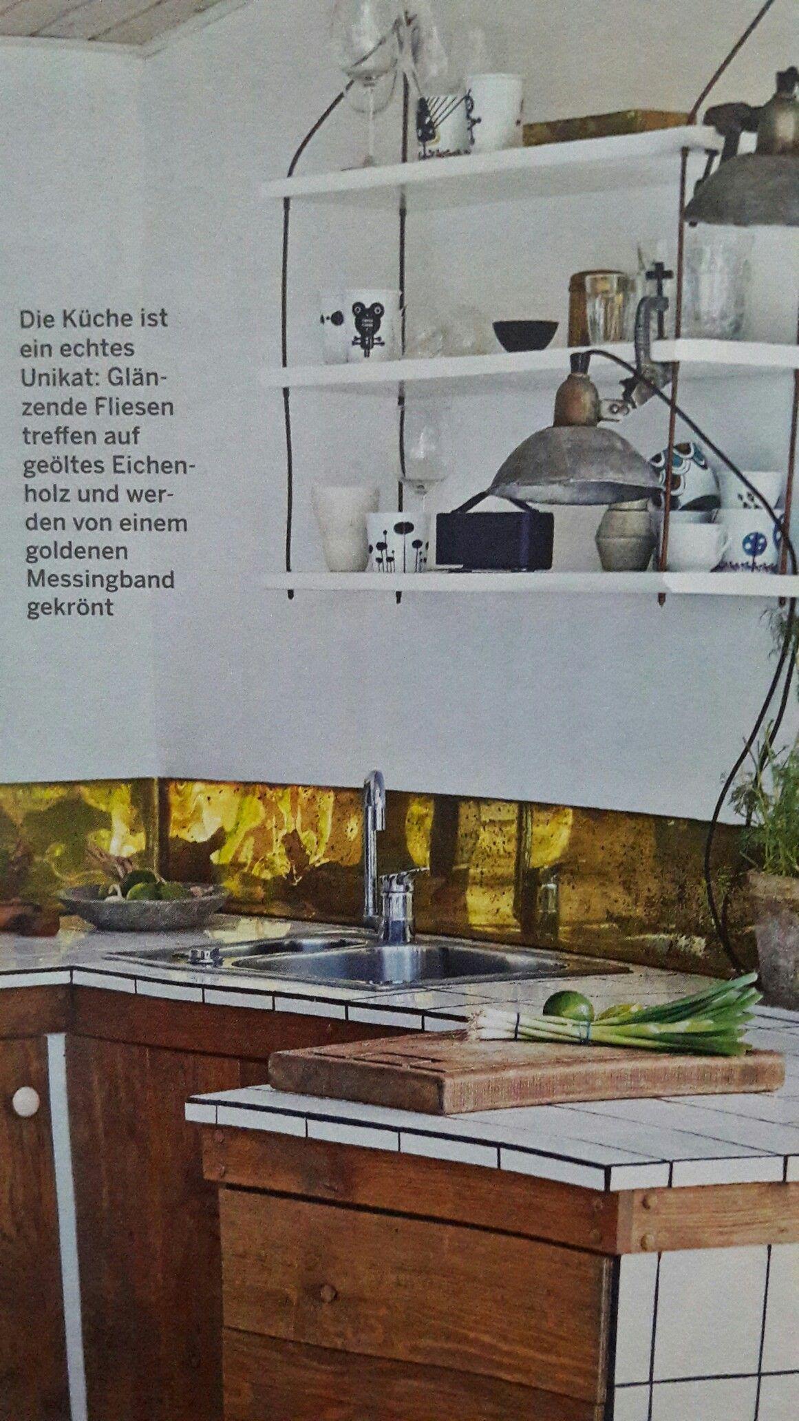 Messing Band als spritzschutz   Spritzschutz Küche   Pinterest ...