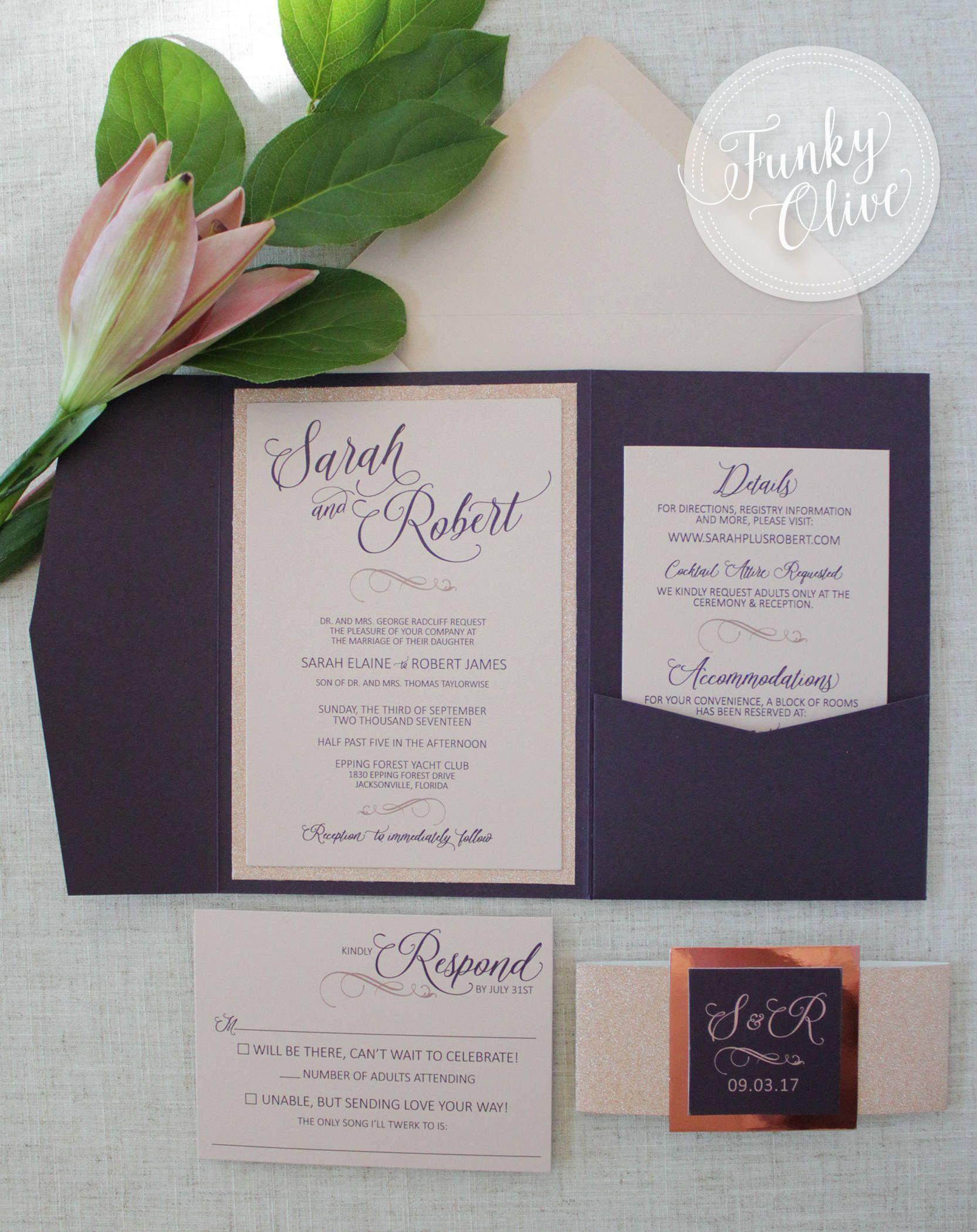 Rose Gold Wedding Invitation Pocketfold Eggplant & Nude Glitter ...