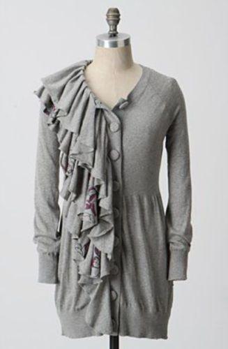 MOTH ~ M Medium ANTHROPOLOGIE Winter Lei Ruffle Long Cardigan Sweater FLORAL  #Moth #Cardigan #Versatile