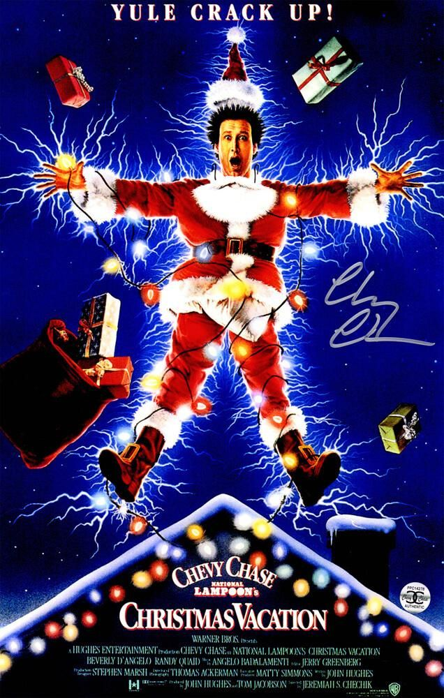 Chevy Chase Signed National Lampoon's Christmas Vacation 11x17 Movie Poster