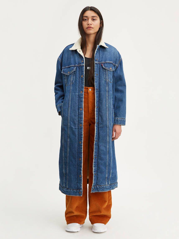 Extra Long Sherpa Trucker Jacket Medium Wash Levi S Us Trucker Jacket Women Denim Jacket Women Jean Jacket Women [ 1142 x 857 Pixel ]