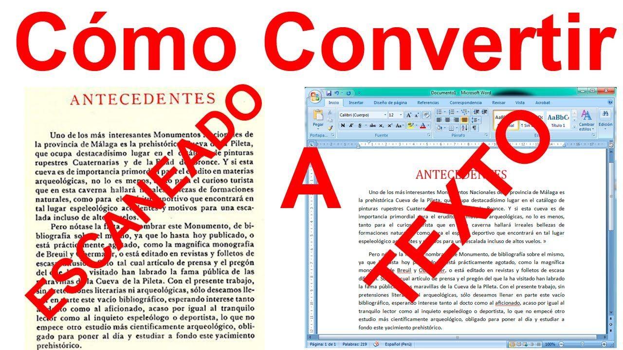 Como Convertir Una Imagen Escaneada A Texto Word Sin Programas Fácil Informatica Y Computacion Clases De Computacion Aprender Informatica