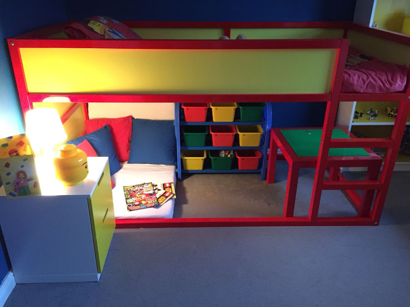 Ikea Platform Bed Hack Lego Bedroom Completed Ikea Kura Bed Hack Milo S Room