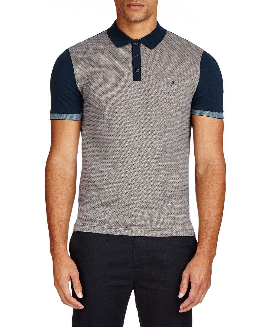 Blue Retro Design Pure Cotton Polo Sale Original Penguin T