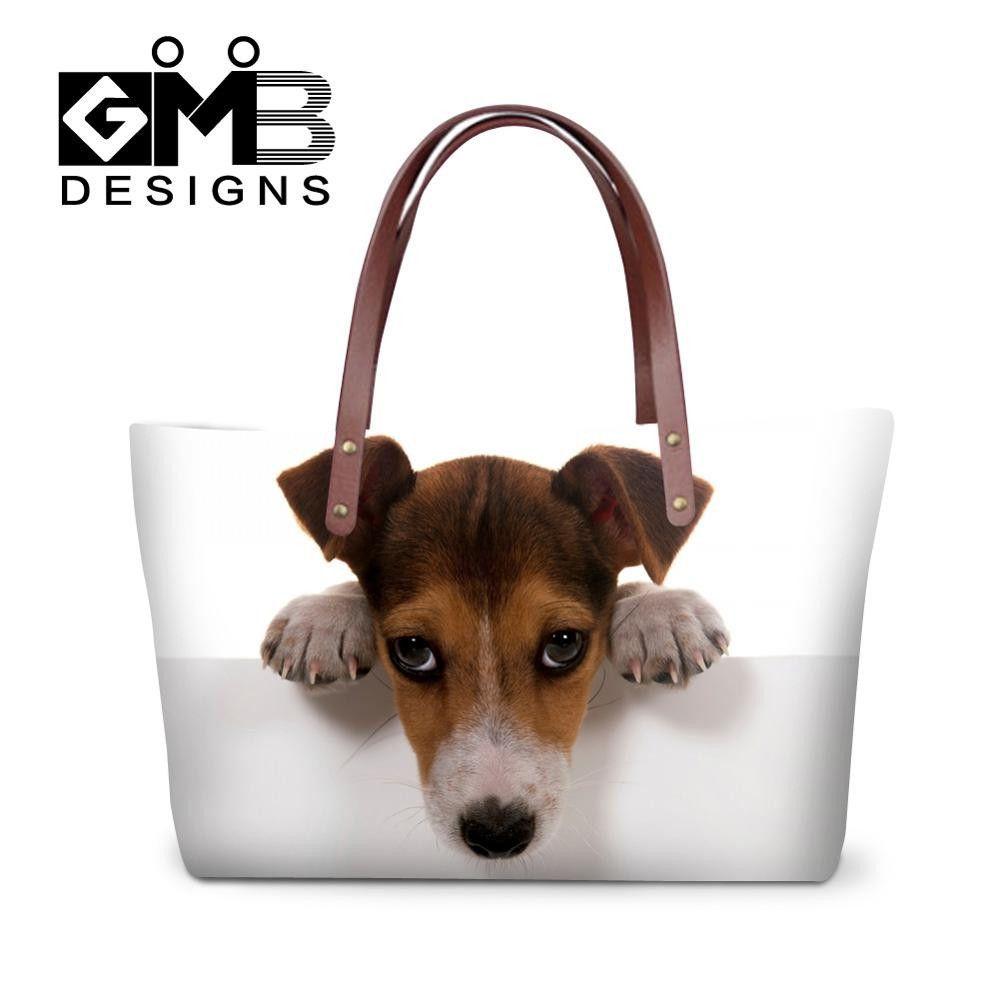 38ce23b95ae4 Neoprene Shoulder Handbag Pattern Dog Clear Hand Bag Animal Print Handbags  Cute Large Tote Bags for Ladies Girly Shopping Bags