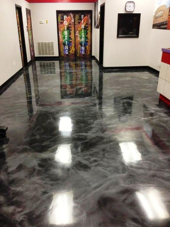 Black And Gunmetal Colored Reflector Enhancor Epoxy Floor