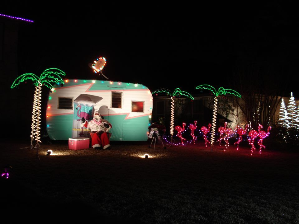 Christmas In July Camping Decorations.Trailer With Pink Flamingos Instead Of Reindeer Perfect