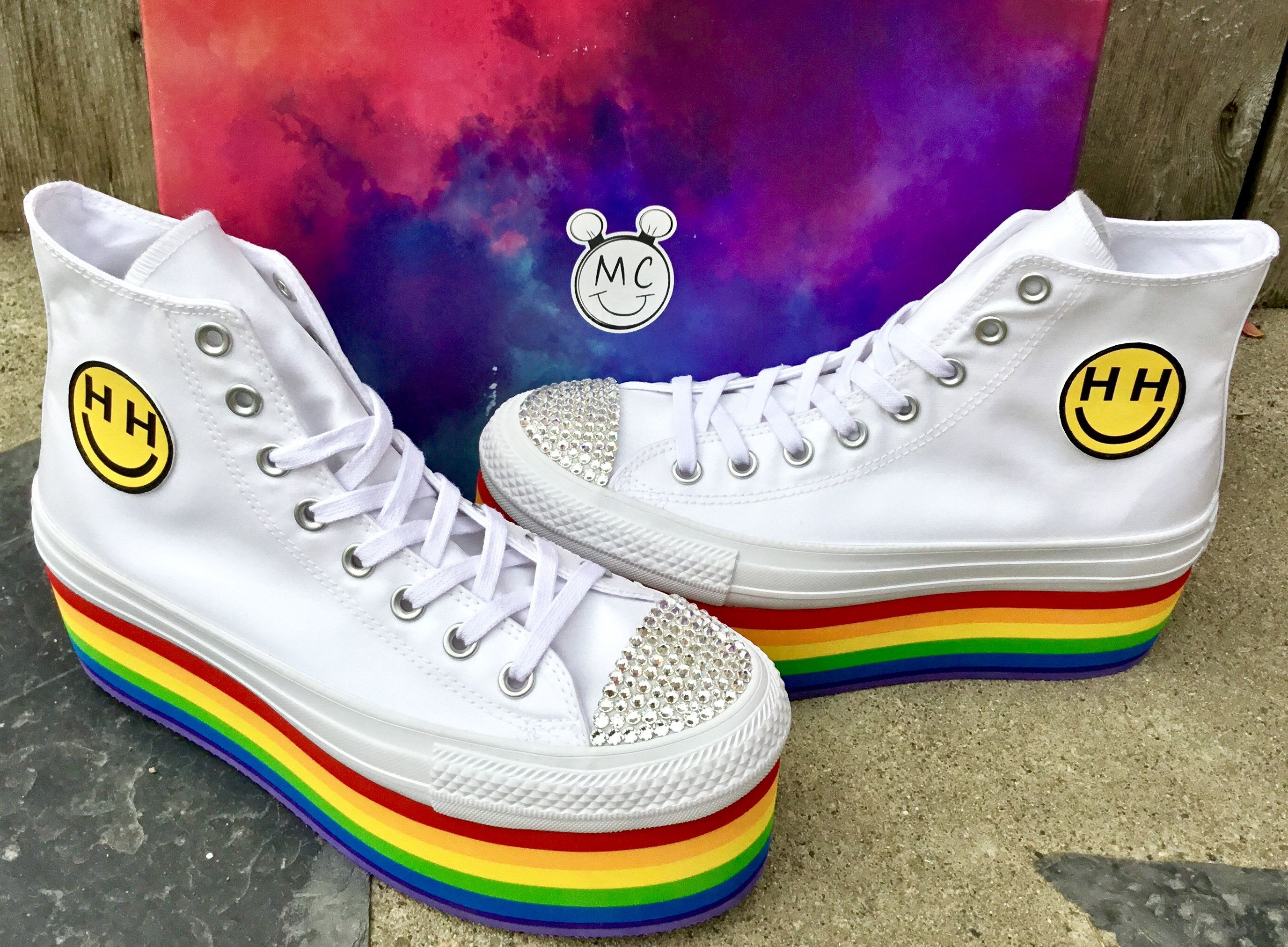 694f43b5607592 Rainbow Converse High Top Lady Pride Platform Glitter 2018 Miley Cyrus  Custom LGTBQ w  Swarovski Crystal Chuck Taylor All Star Sneakers Shoe by ...