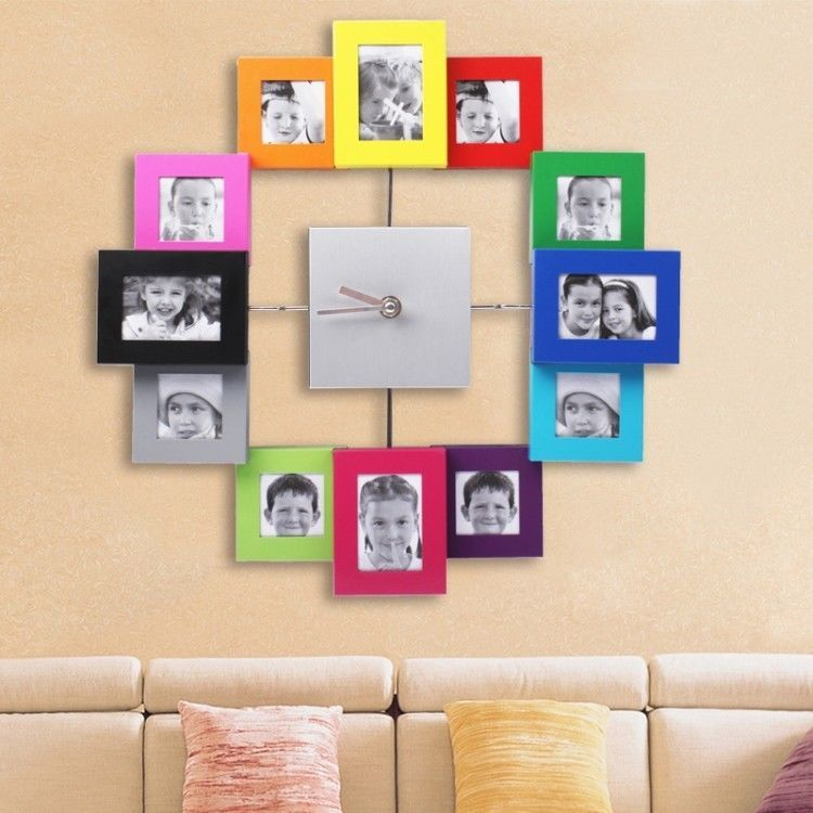 12 Multi Photo Picture Frame & Time Wall Clock Large Decorative for ...