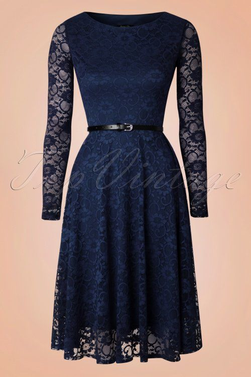 050dfa41f10 intage Chic - 50s Sylvia Lace Swing Dress in Navy