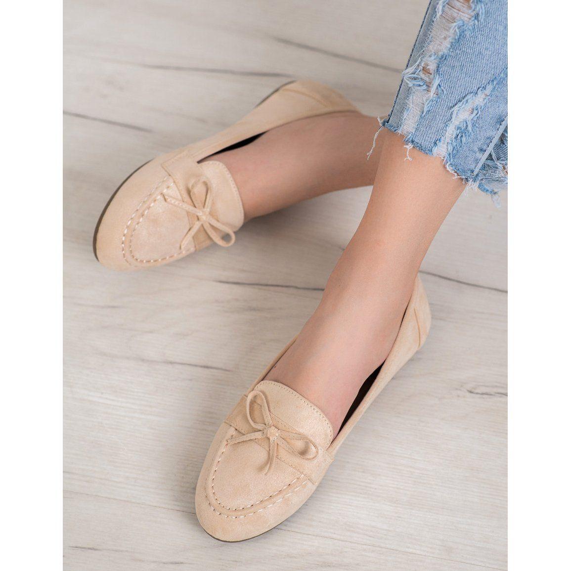 Diamantique Bezowe Mokasyny Bezowy In 2020 Chanel Ballet Flats Ballet Flats Shoes