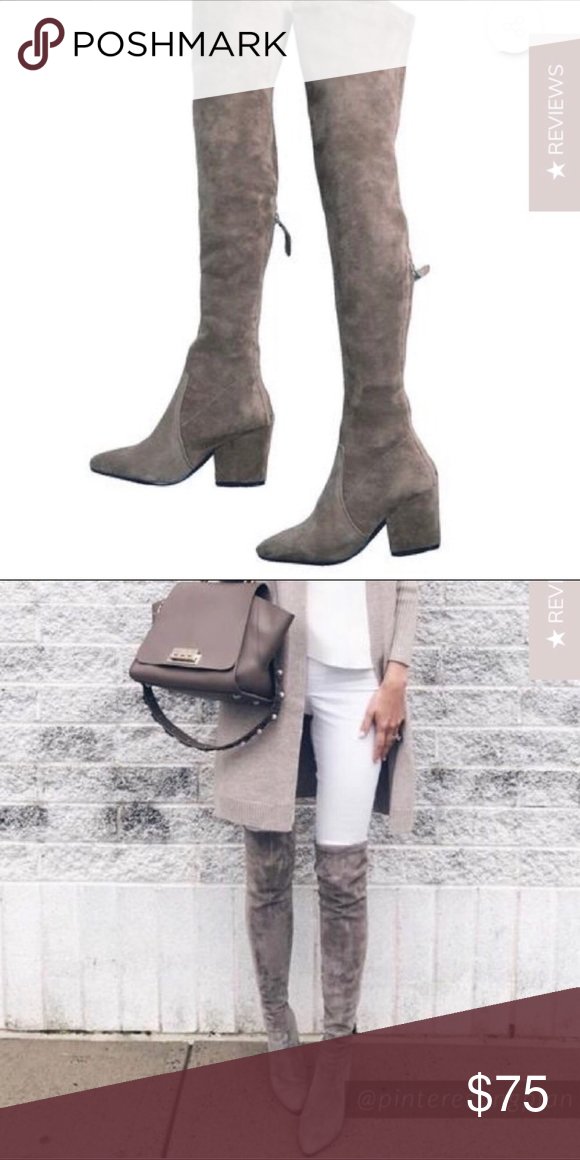 1bcff61378f Carina Taupe Over the Knee Boots From Goodnight Macaroon  beautiful taupe  microsuede over the knee