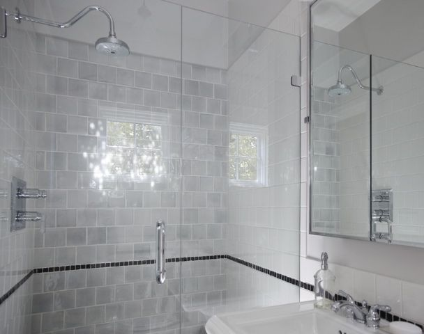 Expensive look for affordable 4x4 white tile | Master ...