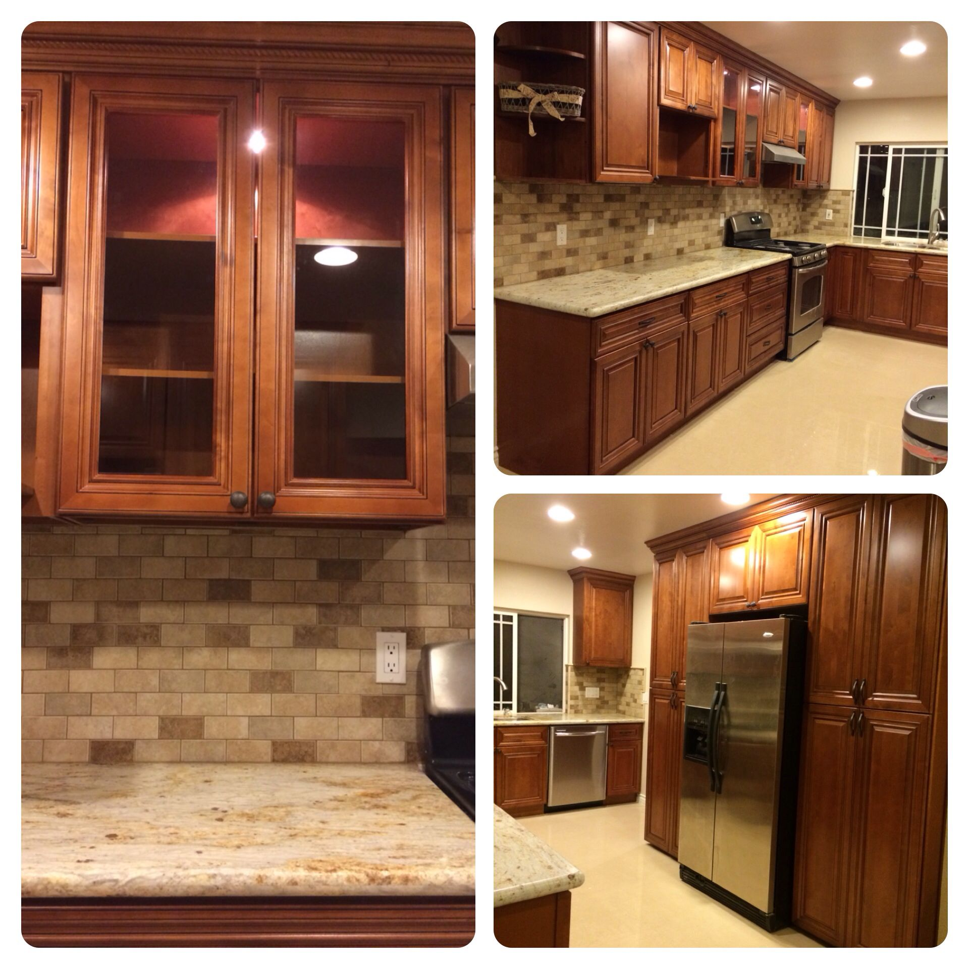 Coffee Glazed Cabinets W Yellow River Granite Tri Color Subway Back Splash Tiles New Homes Kitchen Upgrades Kitchen Cabinets