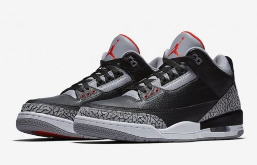 best service ad4ee 25946 Nike Air Jordan Retro 3 III OG Black Cement White Black Fire Red Grey Size  4-13