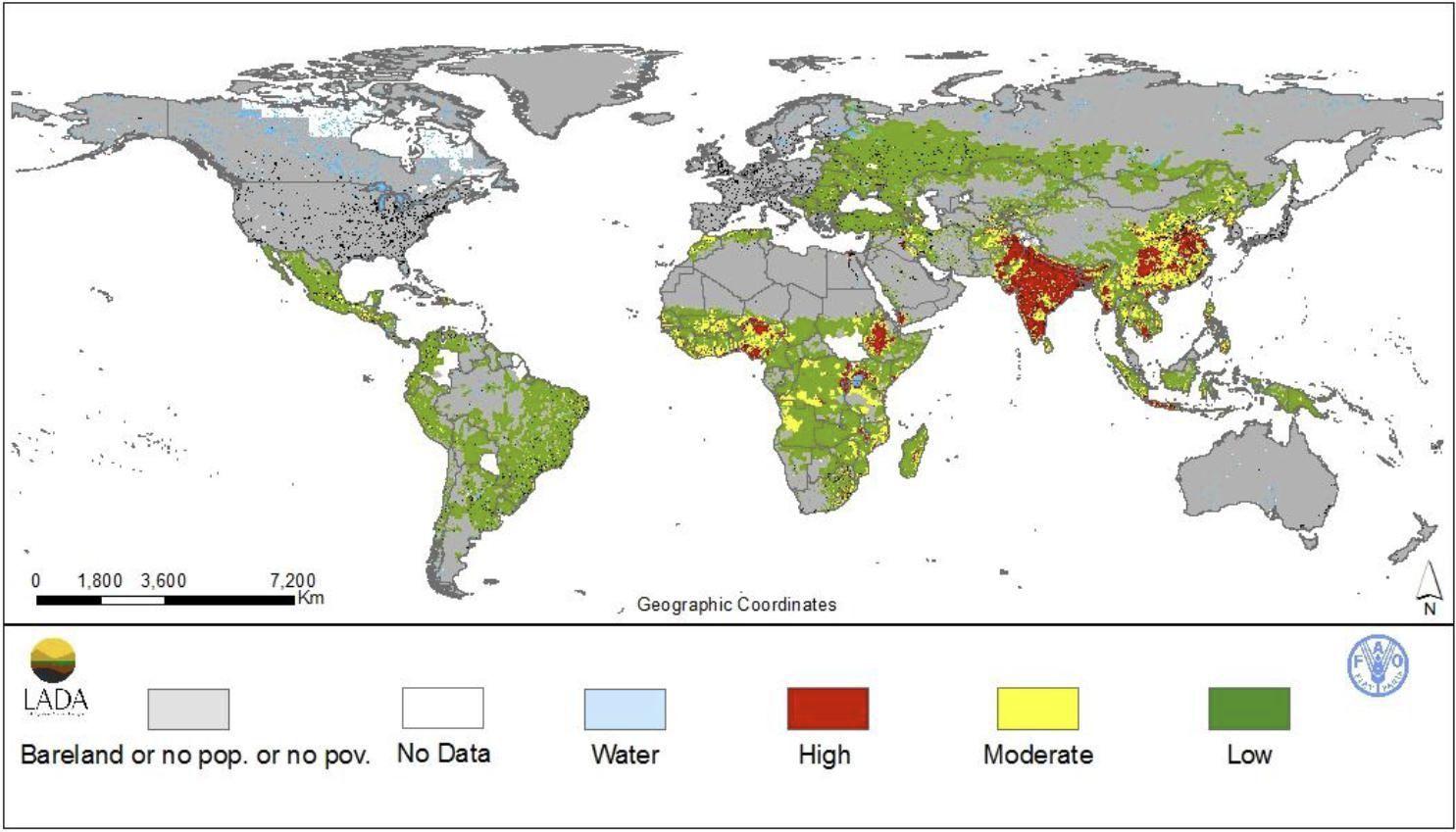 Agriculture World Map.Land Degradation Impact Index By Nachtergaele Et Al Map
